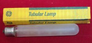 "GE LOT of 5  4 1/2"" Tubular lamp 20 watt 120 volt frosted light bulb FG648"