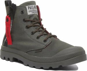 Palladium Pampa Unzipped Iconic Lace Up Boot With Zip In Olive Size Uk 6 - 12