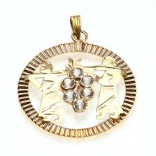 Estate 14k yellow gold Judaica Spies Egypt Canaan Encircled Pendant CZ Judaica