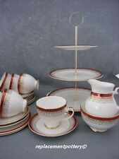 Royal Grafton Red Majestic Tea Set with 3 Tier Cake Stand