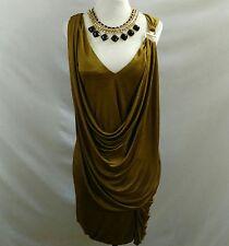 BCBG MAXAZRIA Womens S Sleeveless Dress Gold Ochre Draped Stretch Knee Length