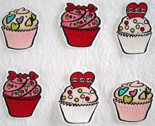 6 Pc Heart Cupcakes Frosted No Sew Iron On Handcut Applique Cotton Patches Retro