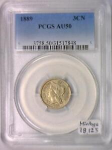 1889 Three Cent Nickel PCGS AU-50; Mintage 18,125