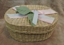 "Vintage Wicker Basket Pink & White Ribbons and Green Leaves 6 1/2"" X4 1/2"" X 3"""