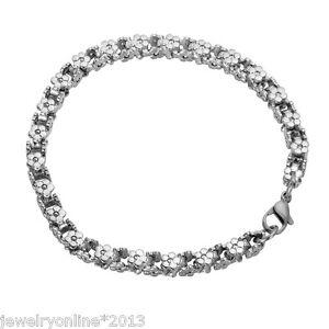 1 Edelstahl Armband Armbänder Karabinerverschluss Blumen Silber 20cmx5mm