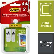 3M Command Picture Hanging White Foam Strips - Damage Free hanging - Pack Of 12