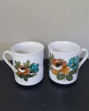 A Pair of Vintage Myott England Retro 70's Ceramic Small Coffee Mugs