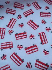 LOVE LONDON,BIG RED BUS, UNION JACK HEARTS, fabric 100% cotton sold /PER METRE/