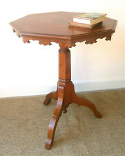 A Victorian Oak Octagonal Gothic Arts & Crafts Wine/Lamp Table with Inlaid Top