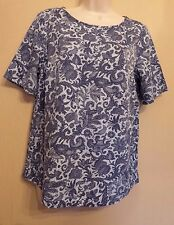 Marks & Spencer Collection UK10 EU38 US6 new blue-mix short-sleeved paisley top