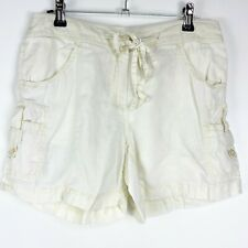 Tommy Bahama Relaxed Womens sz 0 Linen Cargo Cream Shorts Lightweight Drawstring