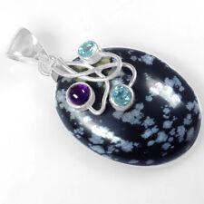 Easter sale-Oval Shape Black Obsidian 925 Sterling silver Jewelry Pendant