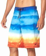 $146 Speedo Men'S Blue White Wave Cycle E-Board Uv Mesh Stretch Swim Trunks L