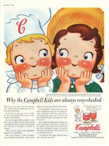 Vintage advertising print CAMPBELL'S  Soup Kids are always rosy cheeked art 1956
