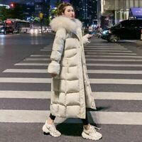 Faux Fur Hooded Parkas Jacket Women Winter Warm Long Cotton Padded Coats Outwear