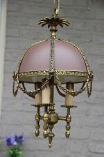 Vintage French bouillotte Metal Brass Chandelier pendant lamp light