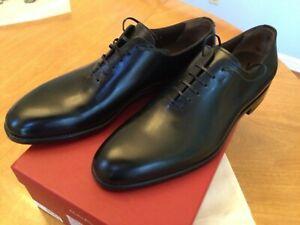 $995 Salvatore Ferragamo Tramezza Black Plain Toe Oxford Shoe sz 9.5 New in Box