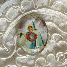 Vtg Christmas Girl 30X40mm Glitter Unset Handmade Glass Art Bubble Cameo Cab