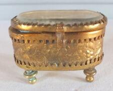 petite boite baguier métal doré et verre biseauté Napoléon III
