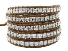 5 Wrap Bracelet CRYSTAL beads stainless steel clasp leather fashion bracelet