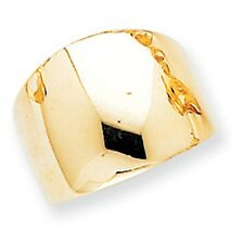 14 KT Yellow Gold High Polished Shiny Dome Design Cigar Band Ring NEW Euro Shank