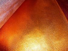 "Leather 8""x10"" OrangeAmazon Cobra Metallic Snake Embossed Cowhide 2oz /1 mm"