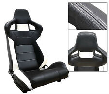 NEW 1 PAIR BLACK & WHITE PVC LEATHER RECLINABLE RACING SEATS FOR ALL FORD *****