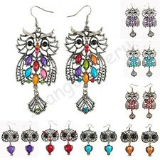 Vintage Austrian Crystal Tibet Silver & Bronze Lucky Owl Charms Dangle Earrings