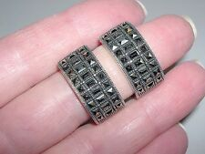 WIDE Sterling Silver~Rectangle & Square Marcasite Demi Hoop Clip On Earrings~10G