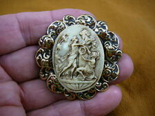 (Cm53-12) Woman and Knight statue Cameo Pin Pendant Jewelry Necklace