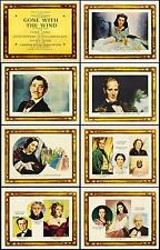 GONE WITH THE WIND COMPLETE SET OF 8 INDIVIDUAL 11x14 LOBBY CARD PRINTS WOW!