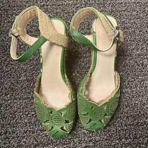 Tory Burch Green Wedge Sandals