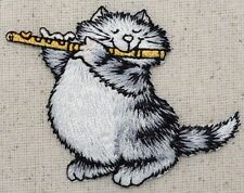 Iron-On Applique Embroidered Patch - Pets - Gray Cat - Playing the Flute