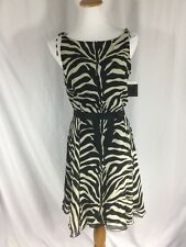 ANNA SUI ✨100% Silk Chiffon Zebra Print Fit & Flare Sleeveless Dress NWT ✨Sz. 8