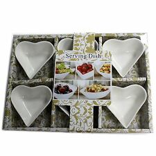 White Ceramic Dipping Sauce / Condiment / Nut Dishes - Set of 6 - Heart Shape