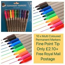 10 x Multi-Coloured Permanent Markers Assorted Colours Sharpie Style Fine Point