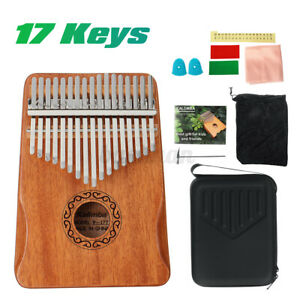 17 Key Kalimba African Mahogany Wooden Thumb Piano Finger Percussion Music W/Bag