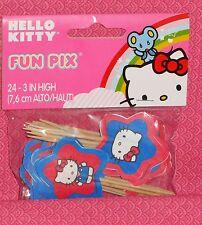 """Hello Kitty Cupcake Picks,Fun,Wilton,Red ,Pk..24,Topper,2113-7576,3"""",Paper/Pick"""