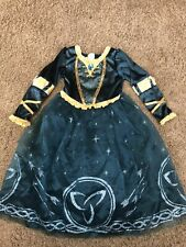 Disney Store Parks Brave Merida Gown Teal & Gold Girls Dress Up Costume Size 5/6