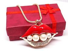 Sexy Lips Pearl & Rhinestone Designer Necklace, W/Gift Box!