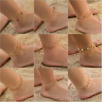 Gold Silver Chain Crystal Star Ankle Bracelet Women Anklet Foot Beach Jewelry