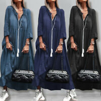 Women 3/4 Sleeve Tie Neck Denim Casual Loose Kaftan Baggy Tiered Long Maxi Dress