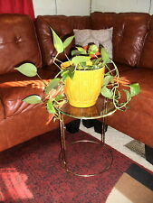 Mid Century Brass Goldtone Metal and Glass Side Table Plant Display Stand #2