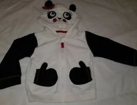 Gorgous black white panda fleece hoodie jumper top Age 12 18 Months