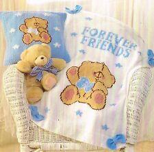 Knitting Pattern: NURSERY CUSHION COVER & BLANKET PATTERN WITH TEDDY BEAR MOTIF