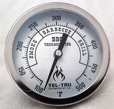 """Tel-Tru BQ500 Zones BBQ Grill & Smoker Thermometer 5"""" Dial, 6"""" Stem"""