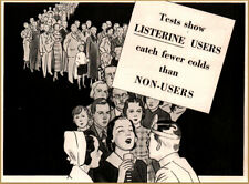 "1936 Listerine Mouthwash Doctor Examining Line of People ""Fewer Colds"" Print Ad"