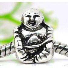 Wholesale Lot 20 Tibetan Silver Figural Buddha European Bracelet Spacer Beads