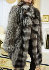 GORGEOUS BEAUTIFUL SILVER FOX FUR COAT JACKET Size L - XL
