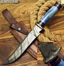 LOUIS MARTIN CUSTOM HANDMADE FIXED BLADE DAMASCUS HUNTING BOWIE KNIFE CAMEL BONE